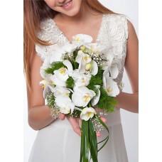 Beyaz Orkideli Gelin El Buketi