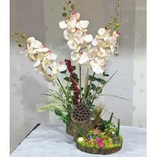 Yapay Çiçekli Kütük Teraryum