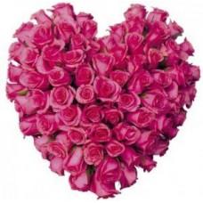 Pembe Güllerden Kalp Aranjman